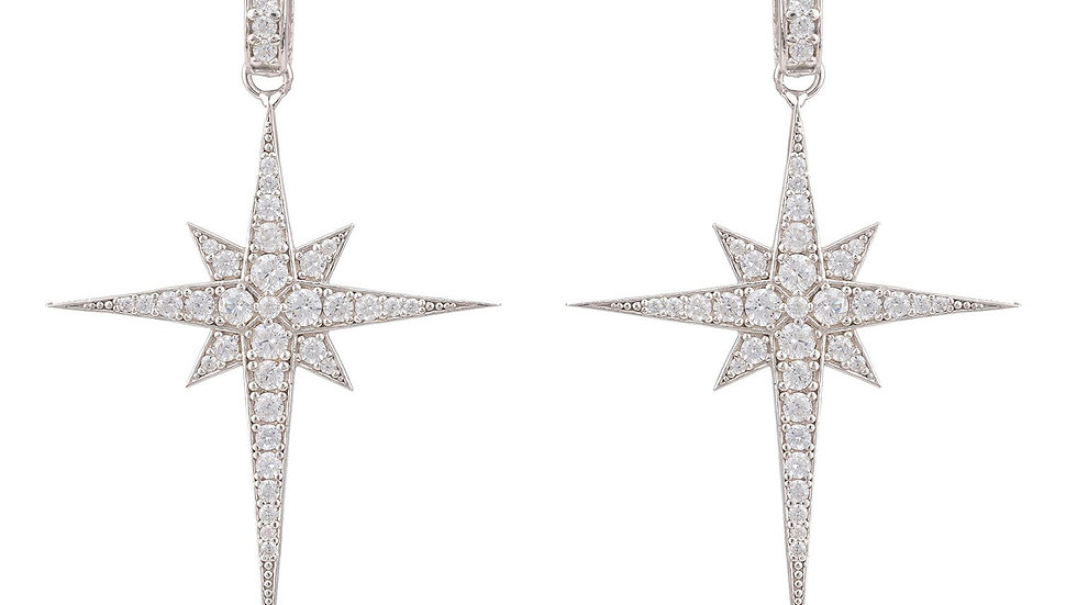 North Star Burst Large Drop Earring Silver