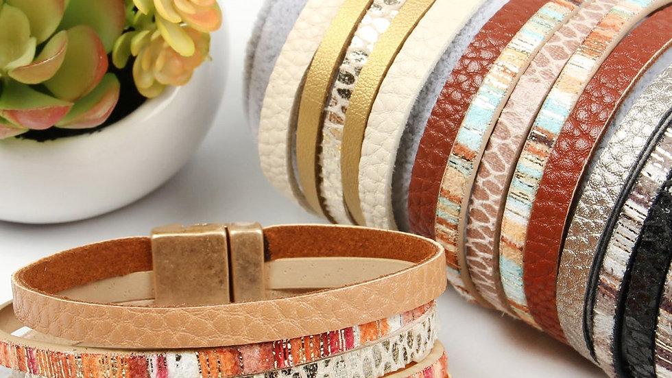 Layer Suede Magnetic Lock Bracelet