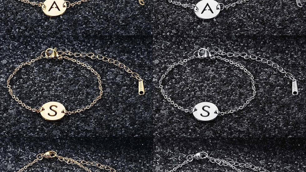 Stainless Steel A-Z Initial Name Charm Bracelet  Alphabet 26 Letter Dainty