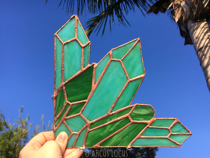 Jade Emerald Quartz Crystal Cluster Stained Glass, Boho Healing Crystal