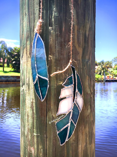 Stained Glass Feather Duo (aqua/teal)