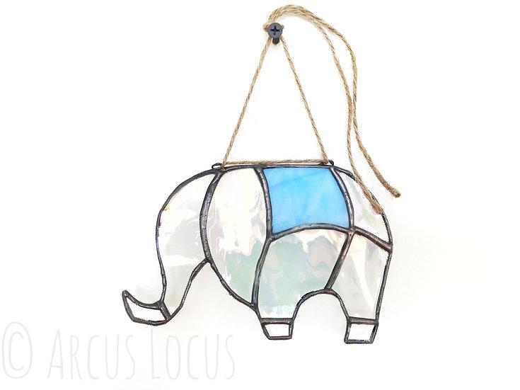 Stained Glass Elephant Suncatcher, Iridescent