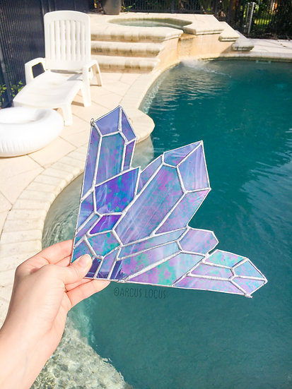 Aura Amethyst Crystal Cluster Stained Glass, Iridescent Boho Quartz