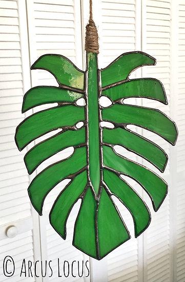 Stained Glass Monstera Leaf Suncatcher - Emerald