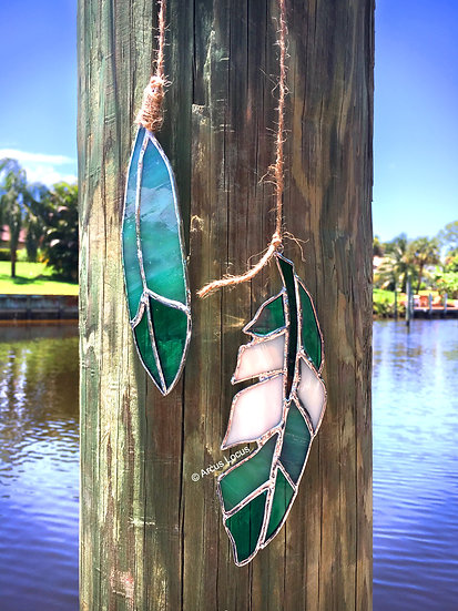 Stained Glass Feather Duo (green)