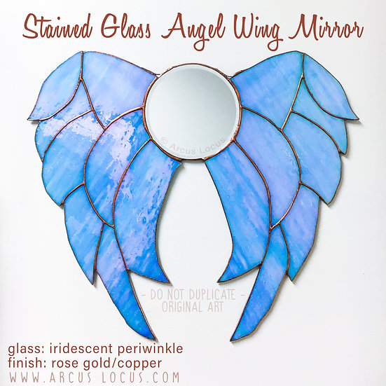 Stained Glass Boho Angel Wings Mirror, Iridescent Aura Crystal Color Shabby Chic