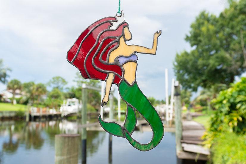 Stained Glass Mermaid, Boho Siren, Vertical