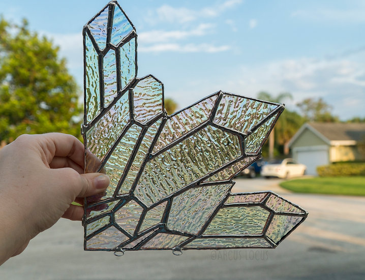 Iridescent Quartz Crystal Cluster Stained Glass, Iridescent Boho