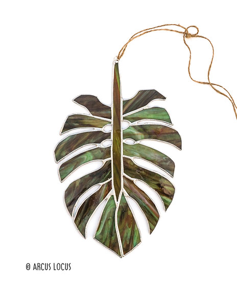 Stained Glass Monstera Leaf Suncatcher - Camo
