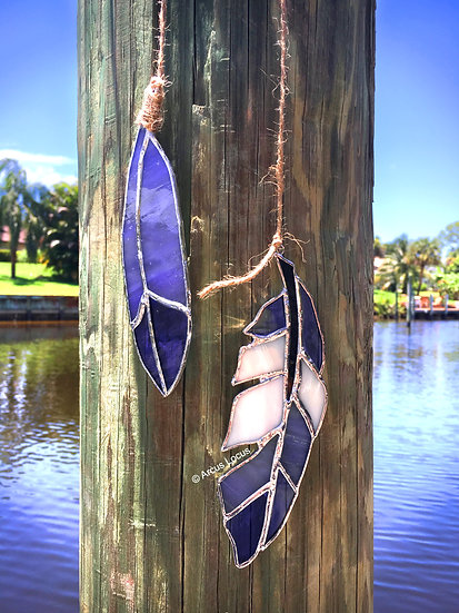 Stained Glass Feather Duo (Purple)