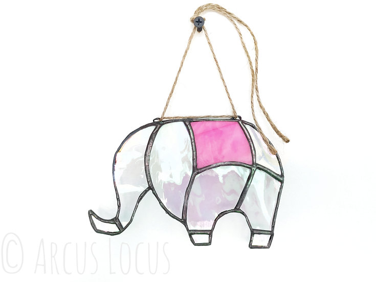 Stained Glass Elephant Suncatcher, Iridescent Pink