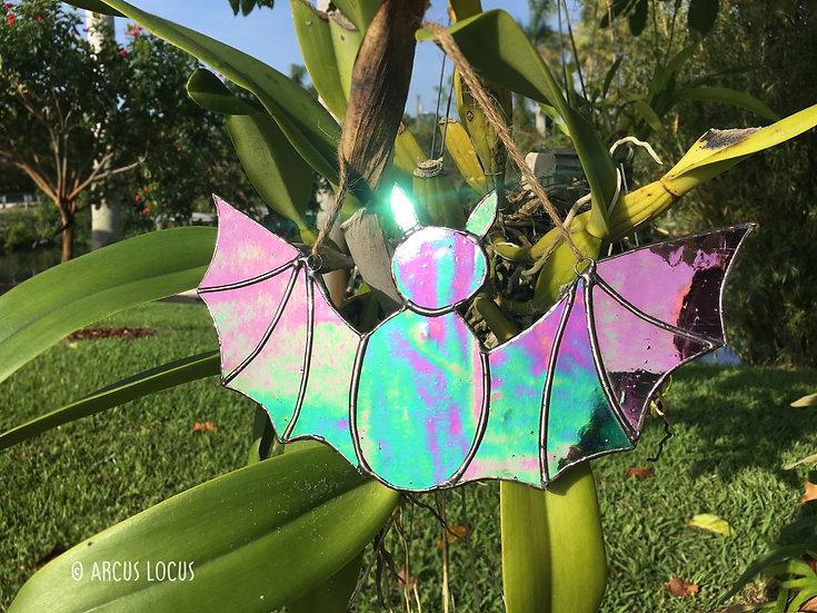 Spooky Halloween Bat Window Suncatcher, Purple Violet Magenta  (Oil Slick)