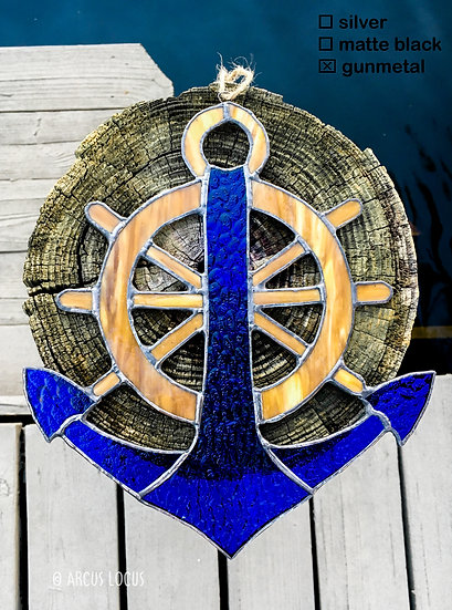 Honor your Navy Veteran or Captain with an Anchor and Wheel Ornament/Suncatcher