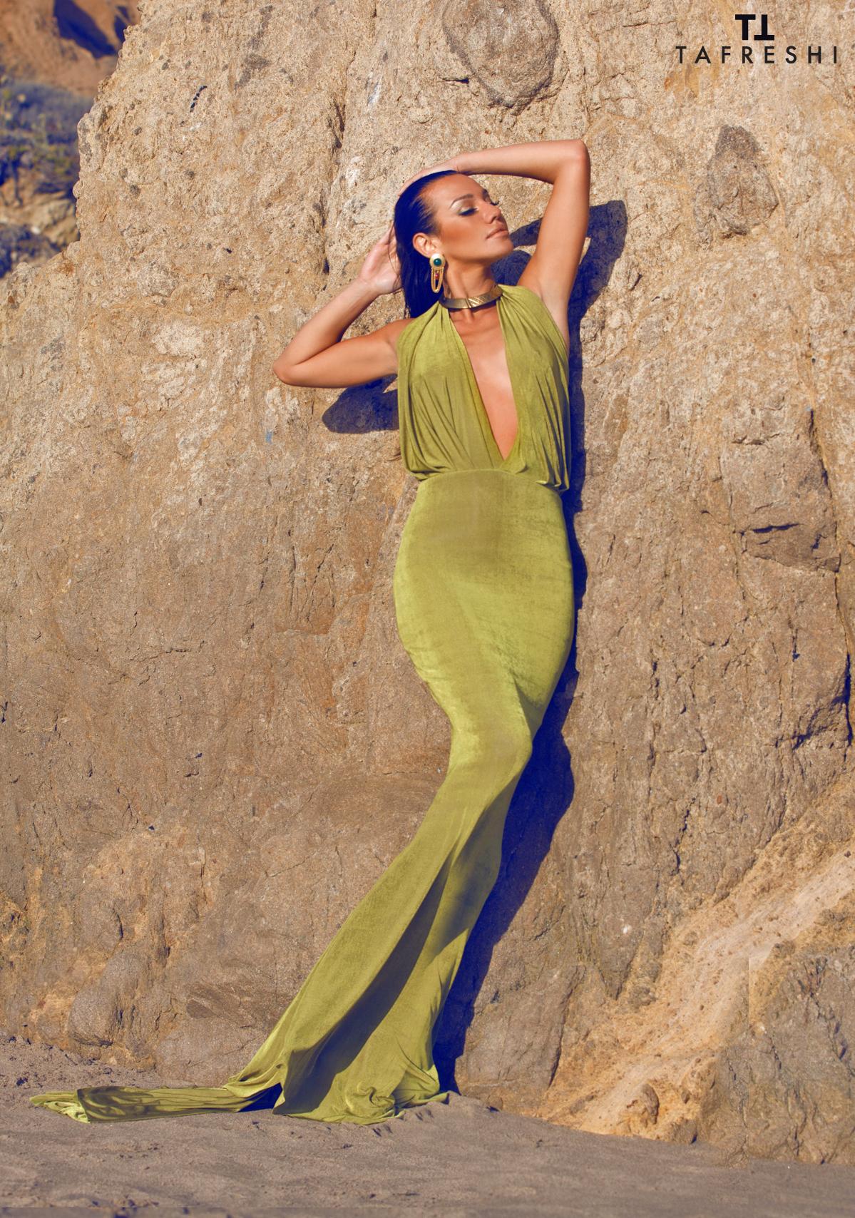 Draped Deep-V  Halter Dress