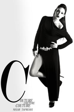 Asymmetrical Long Black Slit Dress