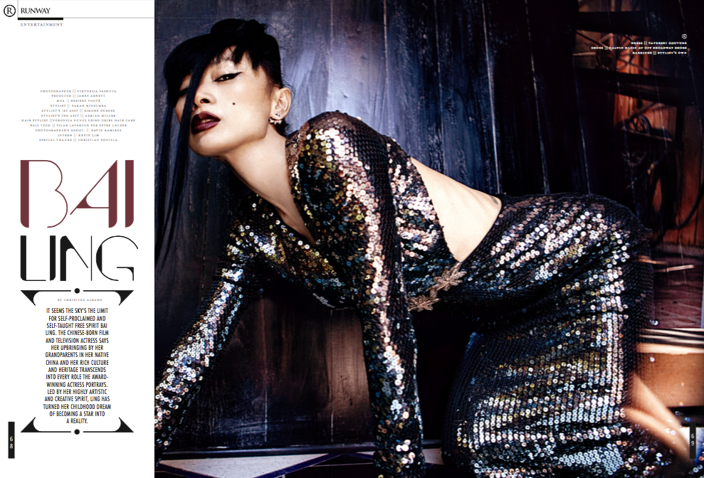 Actress Bai Ling wearing TAFRESHI Featured in RUNWAY Magazine for August  2015 speard