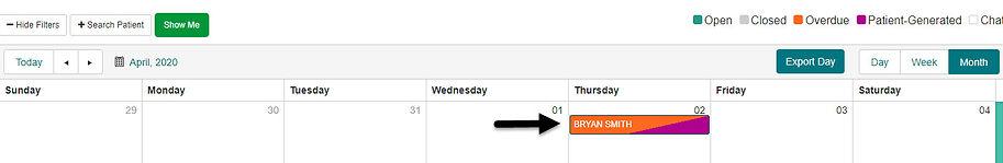 Calendar View - Patient Generated Event.