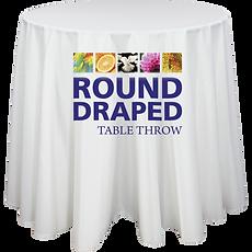 Round Premium Dye Sub Table Throw Draped