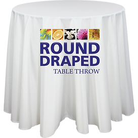Round Premium Dye Sub Table Throw Draped