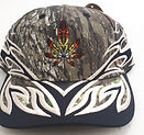 camo ball cap with flames and embroidered cannabis leaf