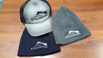 carter excavation - variety of headwear.