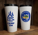 manitoulin resort custom coffee tumbler double sided keep calm and camp on with logo