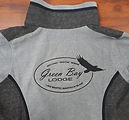 green bay lodge logo embroidery in black on grey fleece sweater