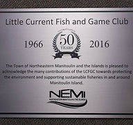 engraved plaque little current fish and
