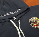embroidered wiikwemkoong fire hoodie hood and front left chest fire crest embroidery