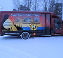 great spirit circle trail bus custom printed vinyl wrap and window perf view thru film