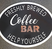 coffee bar custom oval shape sintra sign