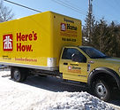 home hardware truck yellow vinyl wrap with lettering and decals