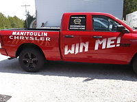 Wikwemikong Nursing Home & Manitoulin Chrysler truck lettering by Beacon Images