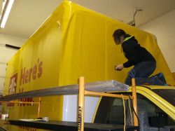 Yellow going on - front cube van