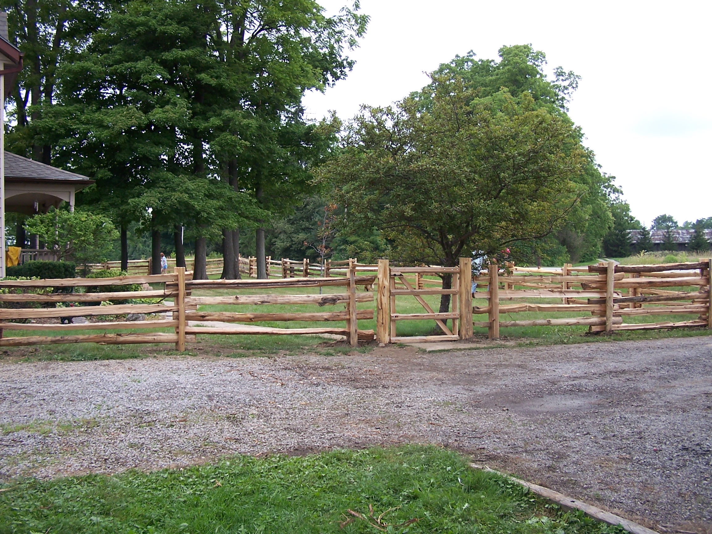 straight rail fence with gate