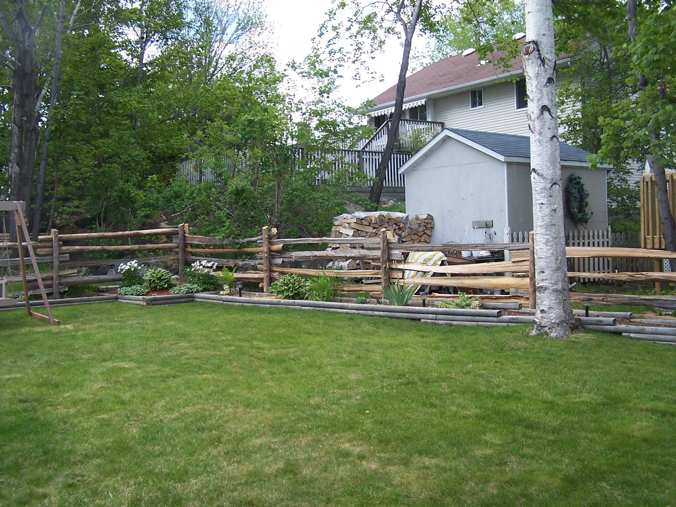 straight rail fence - yard 1