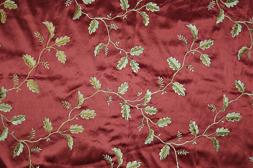 Colefax & Fowler Embroidered Silk Oakham Red