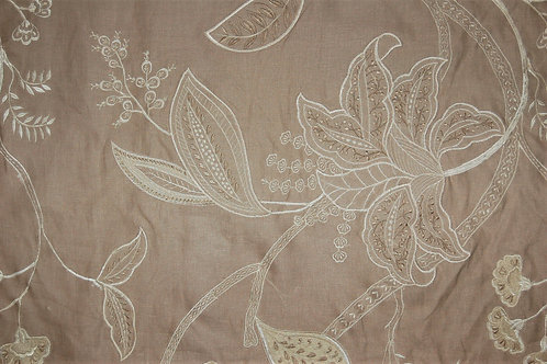 Colefax & Fowler Embroidered Taupe Linen