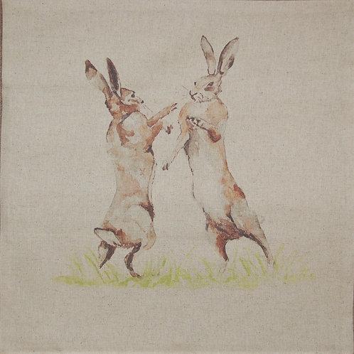 Boxing Hares cushion