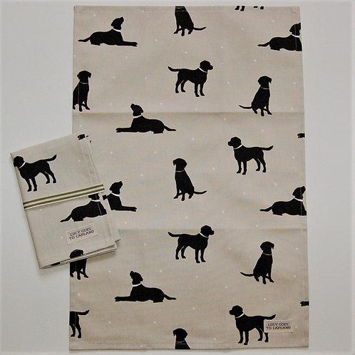 Labrador tea towel beige background