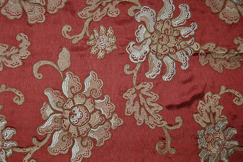 Colefax & Fowler Embroidered Silk Damask Cordelia