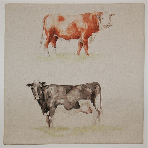 Two cows on Beige cushion cover