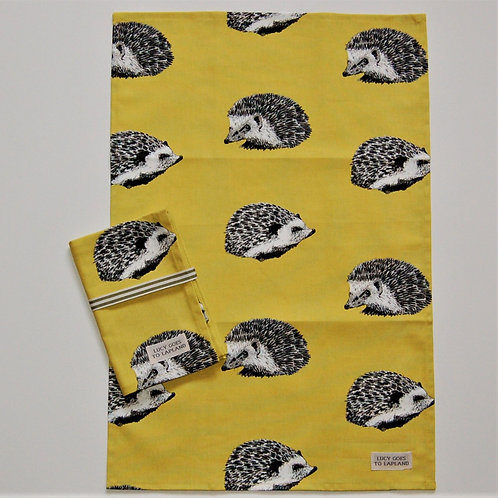 Hedgehog tea towel with yellow background