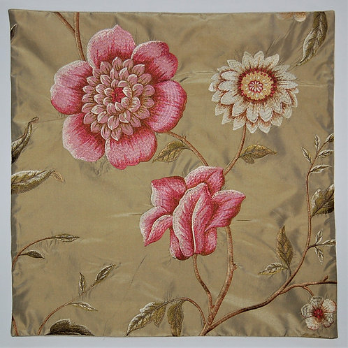 GP&J Baker Embroidered Silk Pink and Gold Flowers