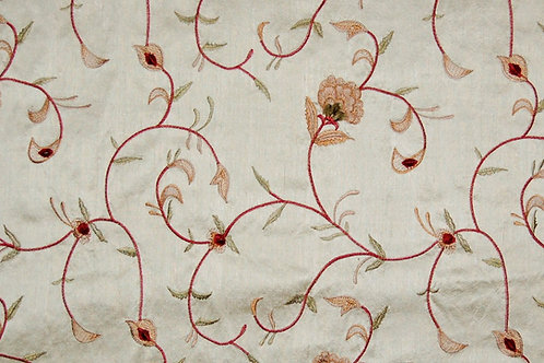 Embroidered Silk Trailing Flowers