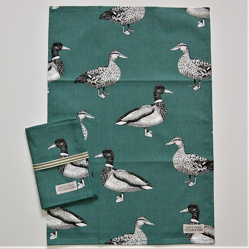 Duck tea towel teal background
