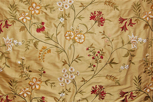 GP&J Baker Embroidered Silk Pencarrow Red Gold
