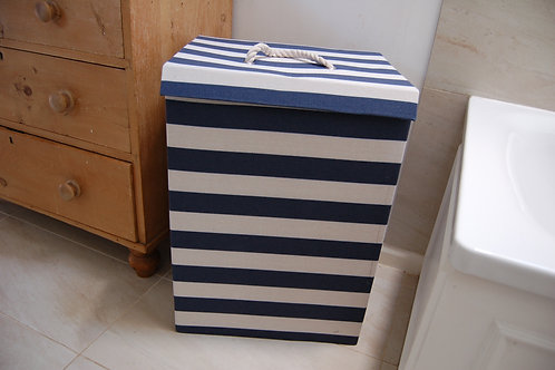Navy and white stripe storage box - Large with lid