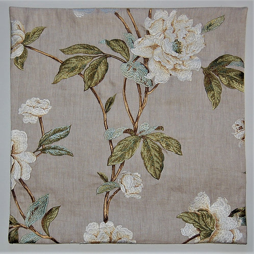 Colefax & Fowler Embroidered Peonies on beige linen twill