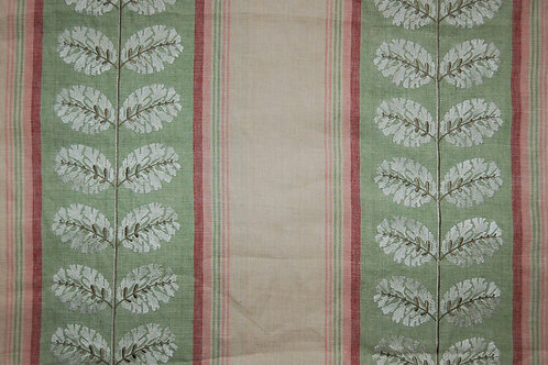Colefax & Fowler Embroidered Leaves with pink and green stripesFairmont